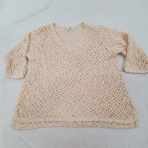 J Jill Sweater L Pink Crochet Open Loose Knit Whit